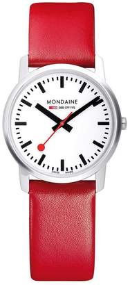 Mondaine Simply Elegant Ladies Watch 36mm Stainless Steel Slim Case, White Dial, Red Leather Strap