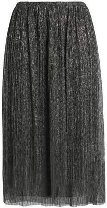 Halston Metallic Plissé Georgette Midi Skirt