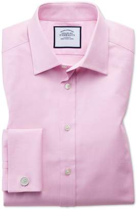 Classic Fit Egyptian Cotton Trellis Weave Pink Dress Shirt French Cuff Size 15.5/33 by Charles Tyrwhitt