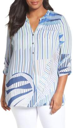 Nic+Zoe Palm Lines Roll Sleeve Blouse