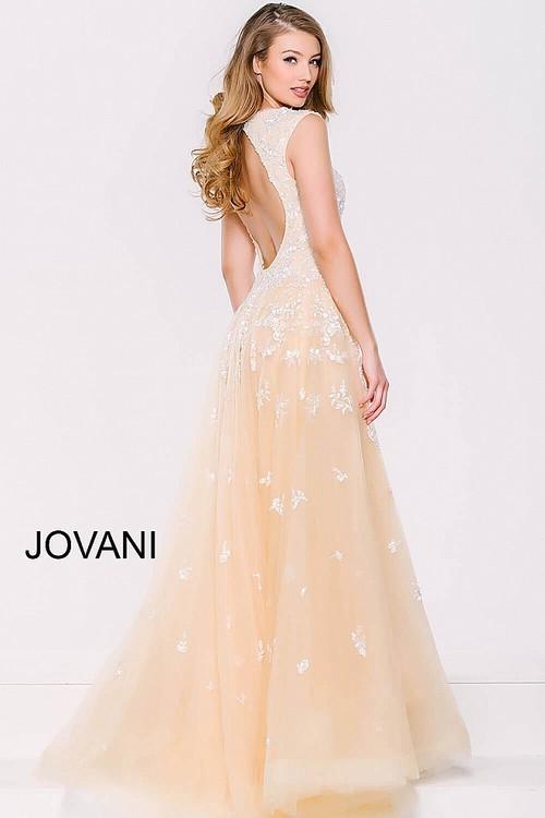 Jovani Long Dress With Lace Appliques 40408