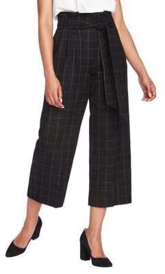 1 STATE 1.State Windowpane Plaid Wide-Leg Paperbag Pants