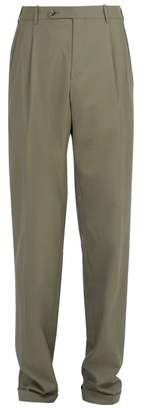 Gucci Straight Leg Wool Twill Trousers - Mens - Grey