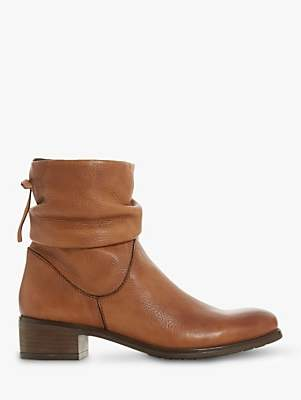 Dune Pagerss Ruched Block Heel Ankle Boots, Chestnut Leather