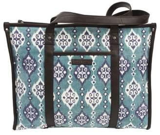 Ashton & Willow Turquoise Blue Bohemian Handbags Lanai Market Tote Cotton Distressed Appearance Pewter Hardware Canvas Ikat Tote