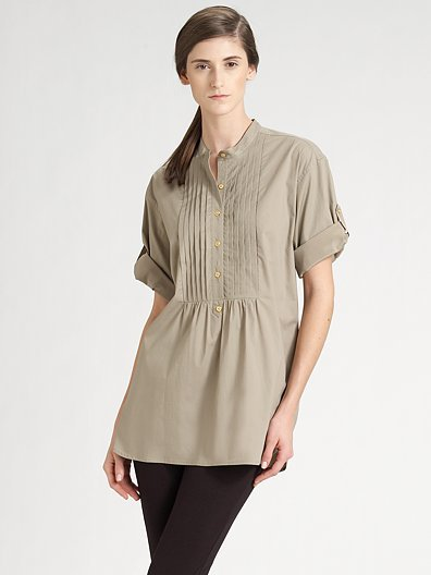 DKNY Stretch Cotton Poplin Tunic