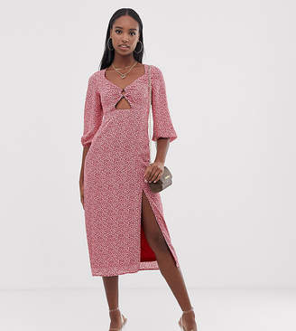Fashion Union Tall midi dress with ring detail in polka