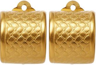 Catherine Canino Basket Weave Clip-On Earrings - Brass