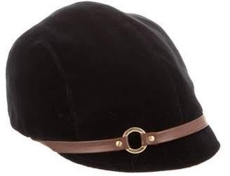 Eugenia Kim Velvet Leather-Trimmed Cap
