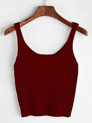 Shein Plus Solid Scoop Neck Knit Top