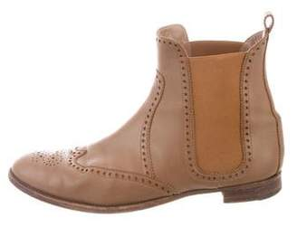 Hermes Leather Brogue Ankle Boots