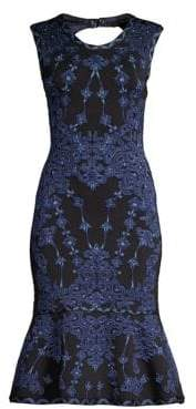 Herve Leger Sleeveless Jacquard Sheath Dress