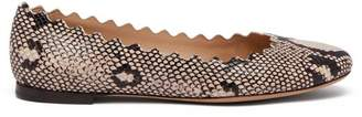 Chloé Lauren Scallop Edge Snake Effect Leather Flats - Womens - Grey Multi