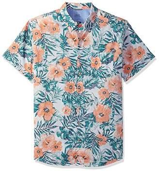 Izod Men's Dockside Chambray Print Short Sleeve Shirt (Big Tall Slim)