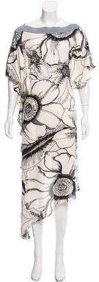 Gianfranco Ferre Floral Print Asymmetrical Dress