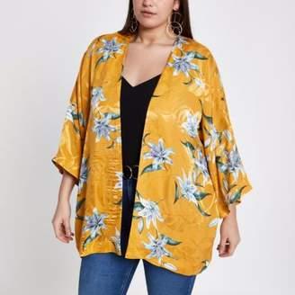 River Island Womens Plus yellow jacquard floral print kimono