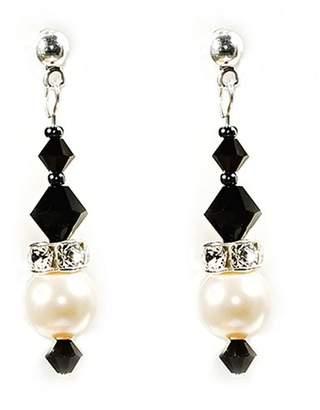 Crystal Pearl LK-Crafts Swarovski Charming Dangling Sterling Silver Earrings. Cream - Jet Color