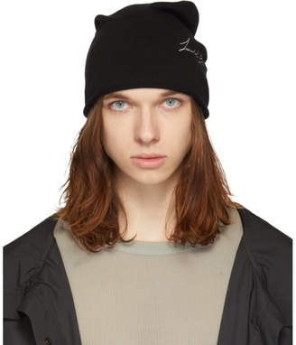 Isabel Benenato Black Embroidered Beanie