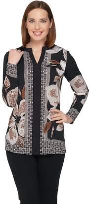 Susan Graver Printed Liquid Knit Long Sleeve Tunic