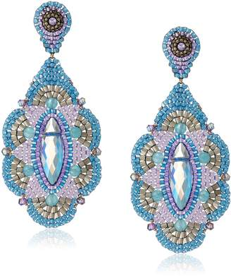 Miguel Ases Blue and Rainbow Synthetic Quartz Chandelier Earrings