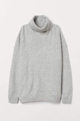 H&M Knit Cowl-neck Sweater - Gray