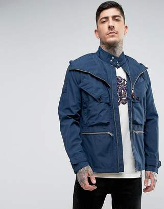 Pretty Green Capella Seam Sealed Jacket in Navy