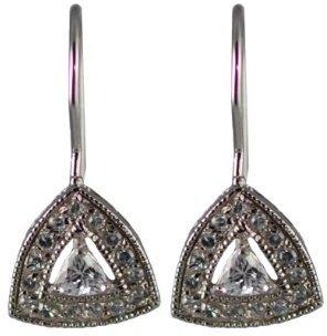 Sterling Silver Cubic-Zirconia Triangular Dangle Earrings