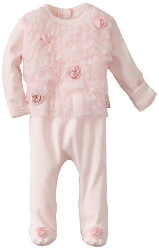 Biscotti Baby-girls Newborn Ruffles and Roses Footie