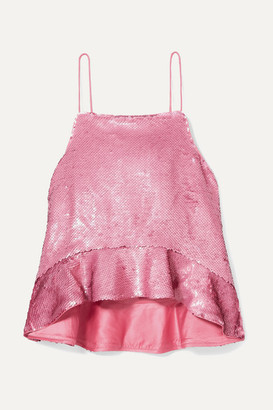 Ganni Sonora Ruffled Sequined Satin Camisole - Pink