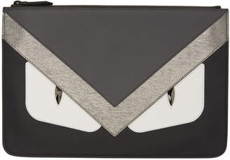 Fendi Black and Silver Bag Bugs Pouch