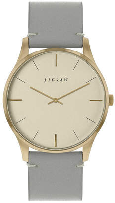 Jigsaw Ladies Watch, Gold Stainless Steel Case, Champaign Dial, Grey Genuine Leather Strap