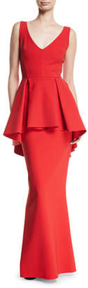 Chiara Boni Mavi Sleeveless Gown with High-Low Peplum