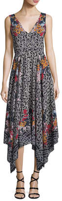 Saloni Zuri V-Neck Sleeveless Printed Silk Dress