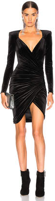 Alexandre Vauthier Jersey Velvet Ruched Mini Dress
