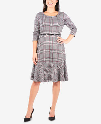 NY Collection Belted Plaid Dress