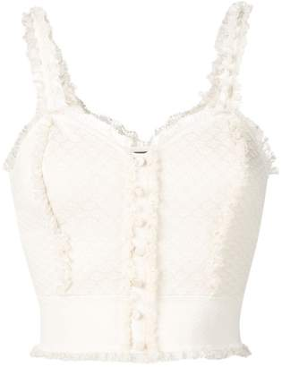 Alexander McQueen lace-trimmed crop top