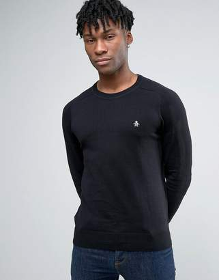 Original Penguin Crew Jumper Cotton Small Logo in Black