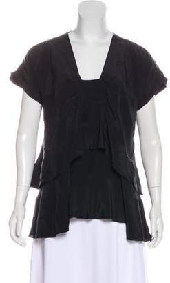 Richard Chai Silk Short Sleeve Draped Blouse