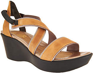 Naot Footwear Leather Wedge Sandals - Gesture