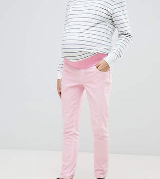 Asos DESIGN Maternity shrunken boyfriend jeans in washed pink