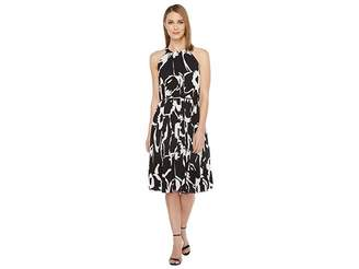 Vince Camuto Cut Out Floral Pleated Belted Halter Dress Women's Dress