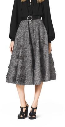 Michael Kors Embroidered Herringbone Wool Skirt