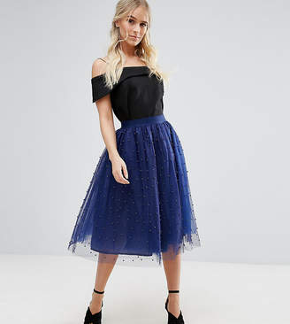 Little Mistress Petite Allover Pearl Embellished Full Midi Prom Skirt