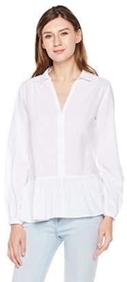 Plumberry Women's Striped Button Down Shirts - Mandarin Collar Asymmetric Ruffle Long Sleeve Blouse Tops Blue