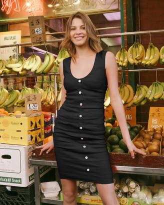 d368e24218d Nicole Miller Stretch Linen Button Down Tuck Dress