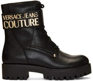 Versace Black VJC Combat Boots