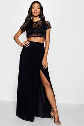 boohoo Lace Crop Bralet And Maxi Skirt Co-ord