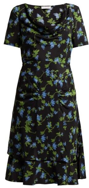 Lucia Floral Print Silk Crepe Dress - Womens - Black Multi