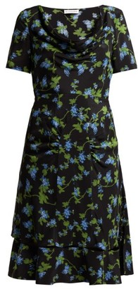 Altuzarra Lucia Floral Print Silk Crepe Dress - Womens - Black Multi