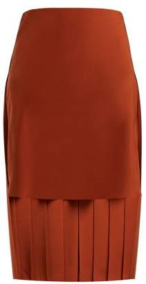Chloé Pleated Silk Midi Skirt - Womens - Brown